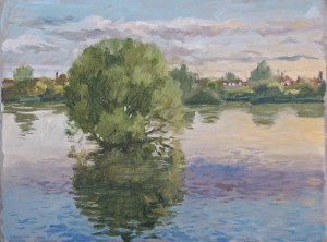 Lake in Lea Valley Park. Oil Sketch