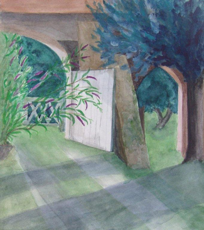 Latest picture: 'Open Gate, Bandouille' - watercolour